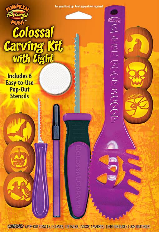 pumpkin carving set with light 11 piece pumpkin carving set horror. Black Bedroom Furniture Sets. Home Design Ideas
