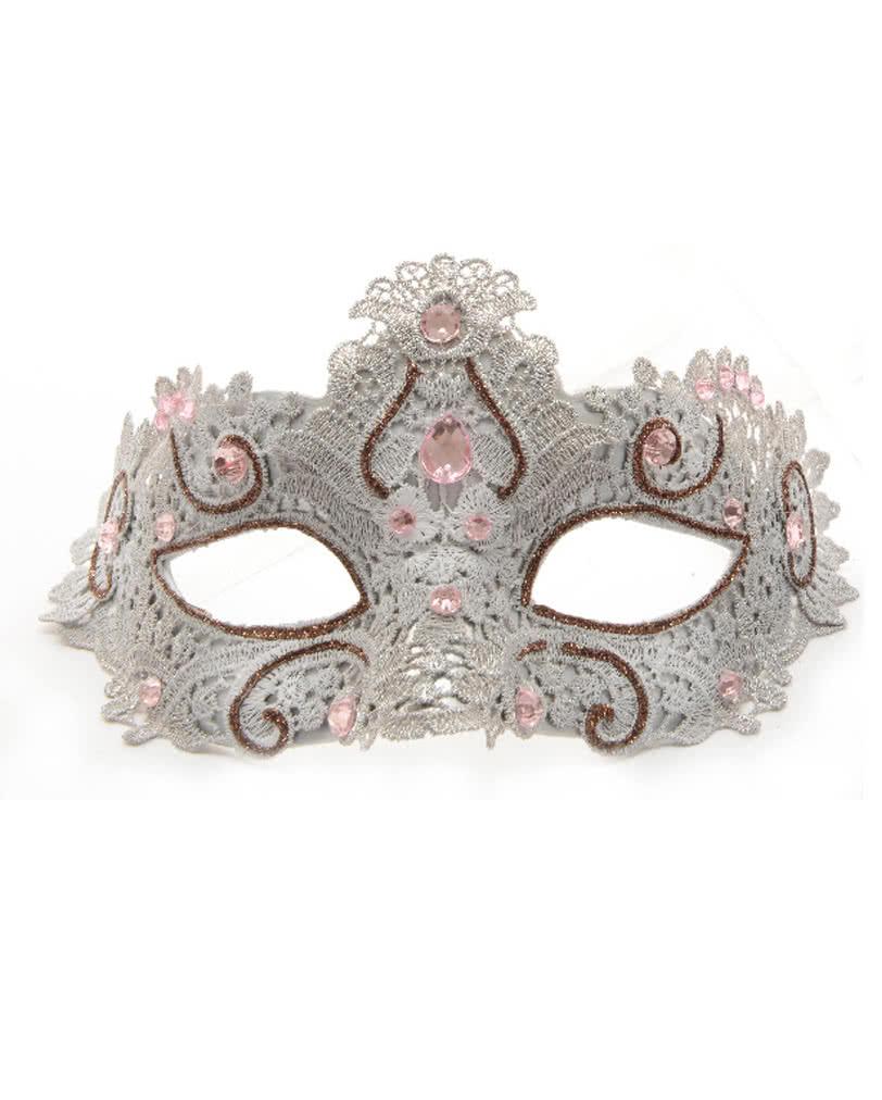 venetian mask with lace grey pink buy erotic eye masks. Black Bedroom Furniture Sets. Home Design Ideas