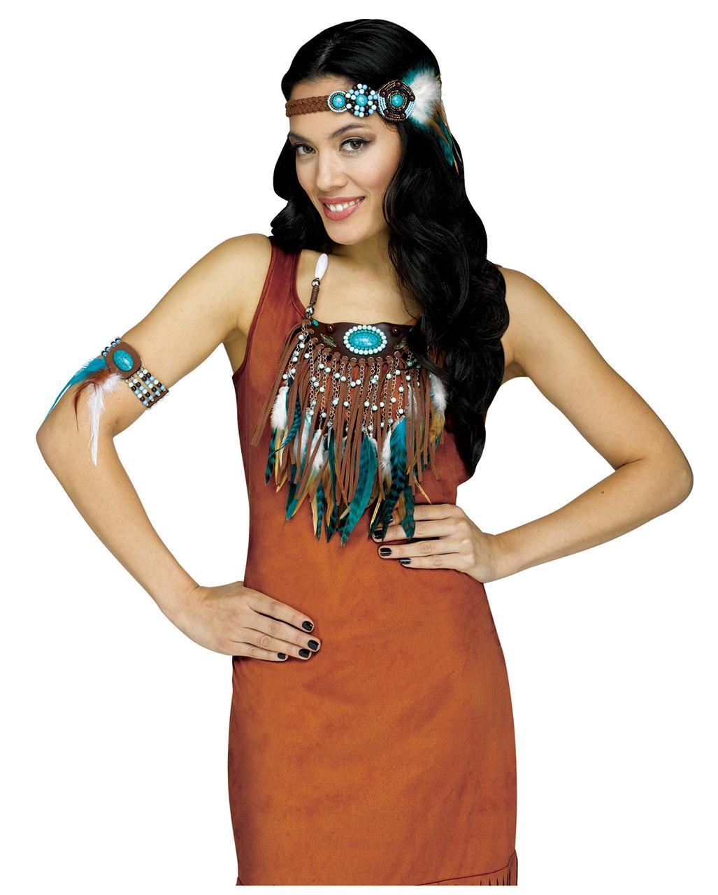 09eee8e9cf9d83 3-tlg. Indianer Kostümzubehör Set für Damen | Karneval Universe