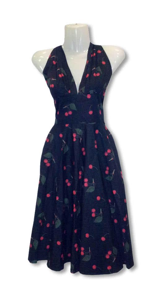 04ca37fa683d04 50er Jahre Kleid Mit Kirschen Petticoat Kleid Rockabilly Kleid