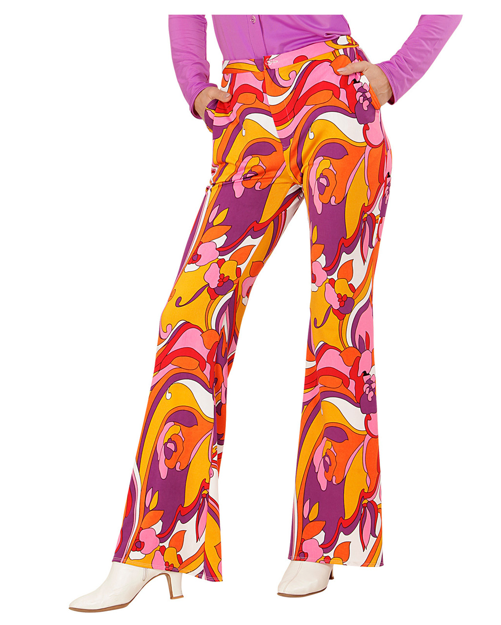 Groovy 70 S Ladies Beat Pants Orchids As A Costume Accessory