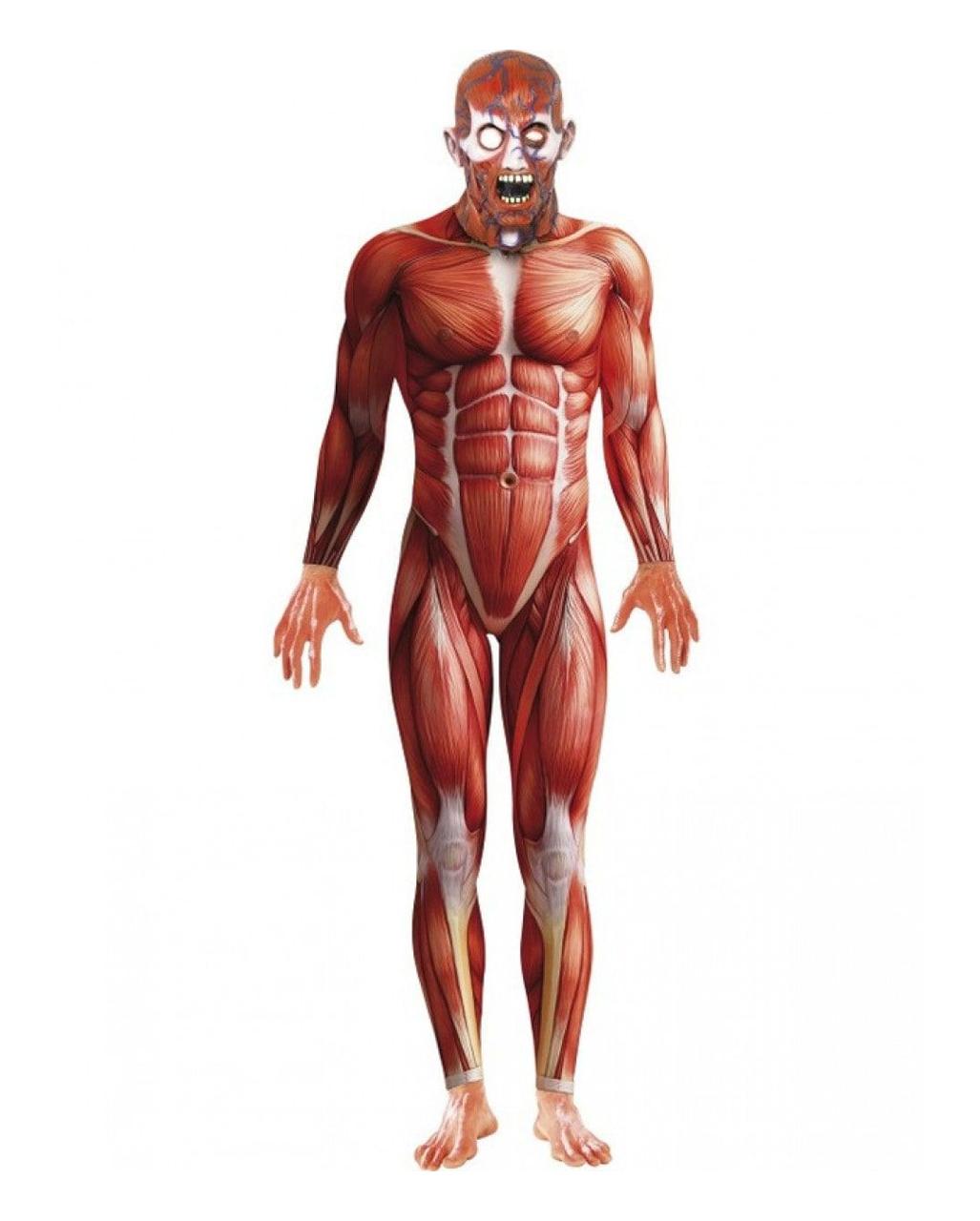 Jump Suit Anatomie mit Maske | Ganzkörperanzug mit Aufdruck von ...