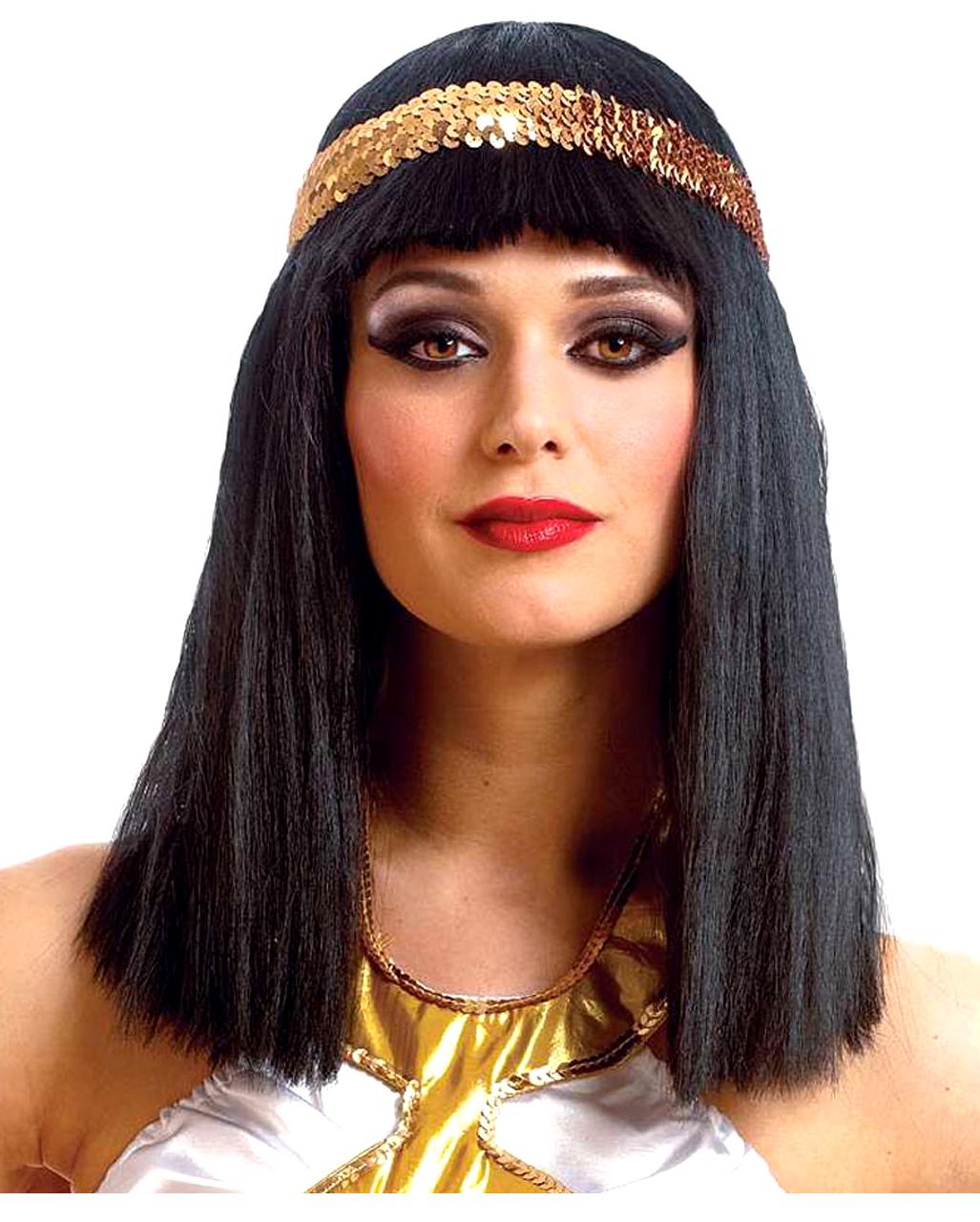 Perucke Damen Karneval Schwarz Pony Glatt Goldfarbenes Stirnband