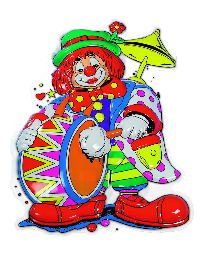 Deko Clown Musikus Clownsfigur Mit Trommel Karneval Universe