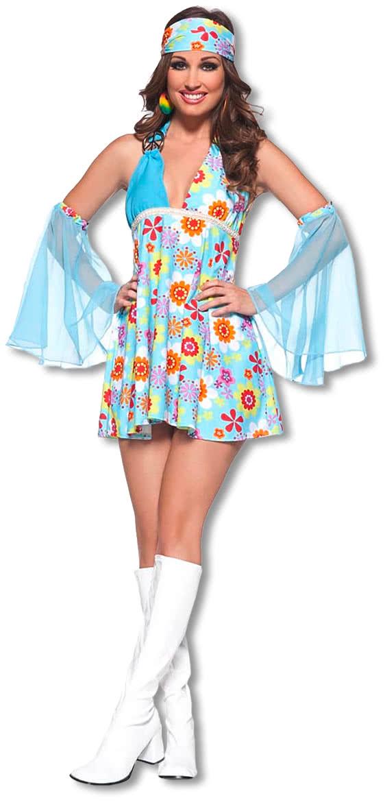 8c3e41a8956fb Flower Power Minikleid L | Sexy Hippie Kostüm für Frauen | Karneval ...