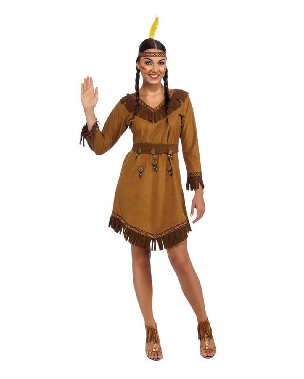 Indianer Kostum Damen Braun Fransen Squaw Indianerin Kleid Karneval