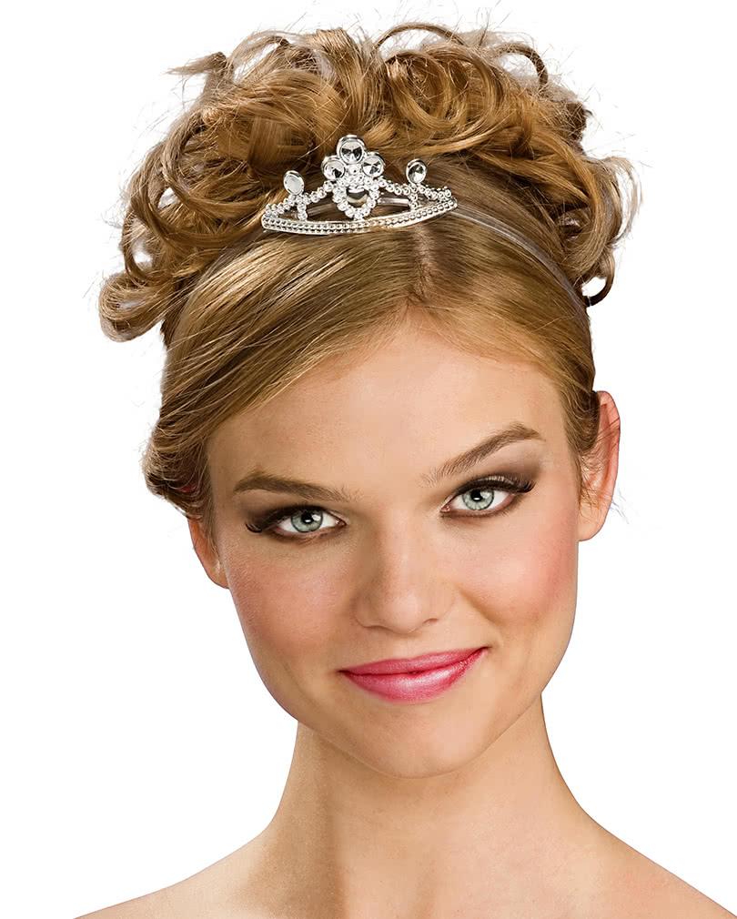 Prinzessin Diadem Metall Silberne Prinzessinnen Tiara Karneval