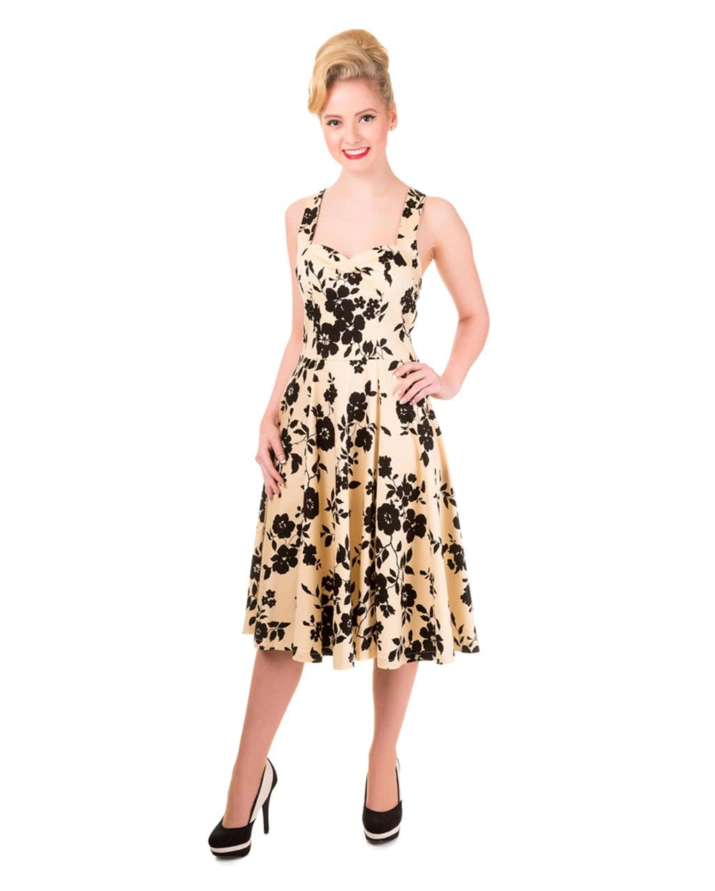 50er Jahre Kleid Mit Blumenprint Beige Schwarz Kaufen Karneval