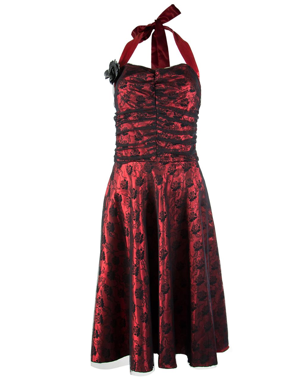 Kleid rot schwarz spitze