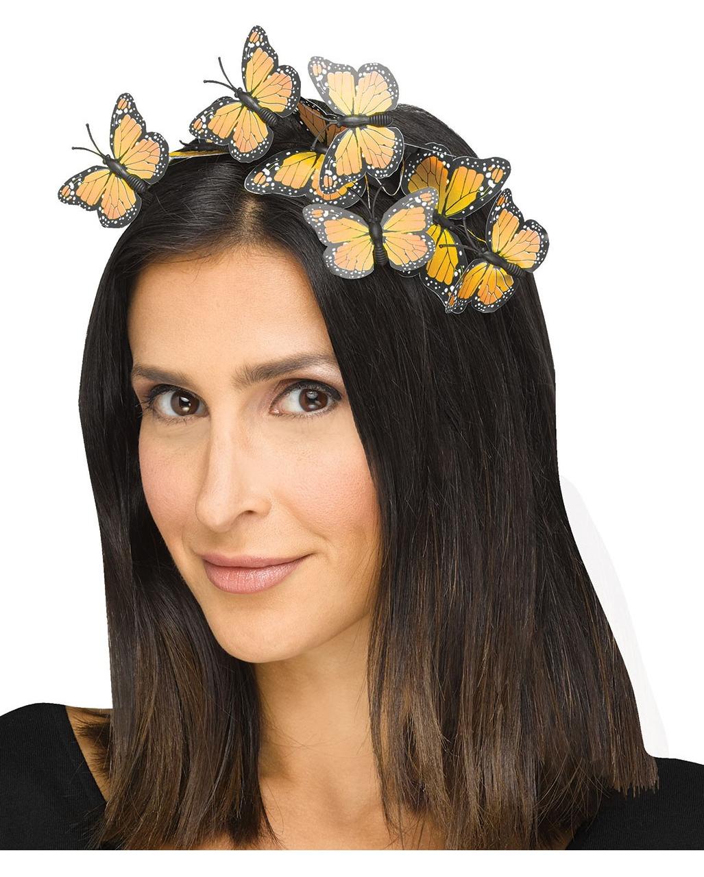 Gelber Schmetterlings Haarreifen Als Accessoire Karneval Universe