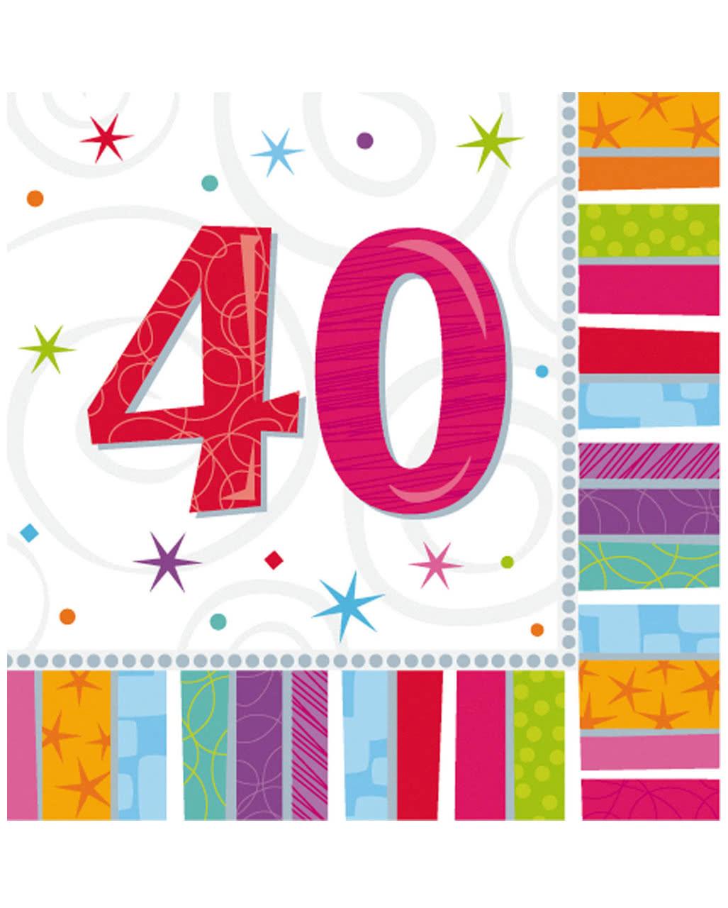 Napkins Happy Birthday 40 Party Decoration Karneval Universe
