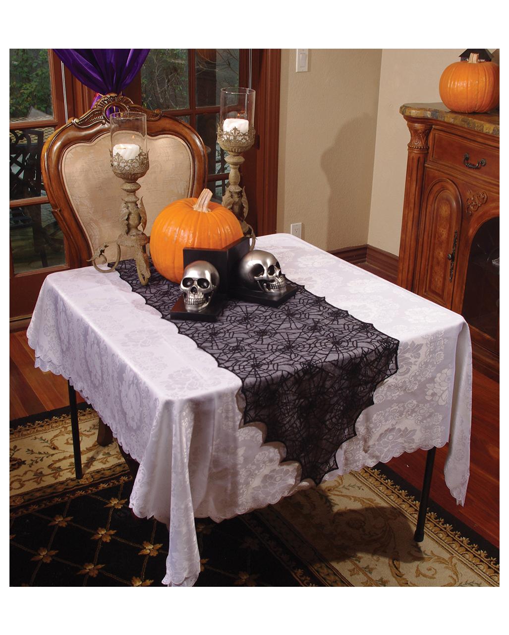 Cobwebs Table Runner Black Halloween Decorations Karneval Universe