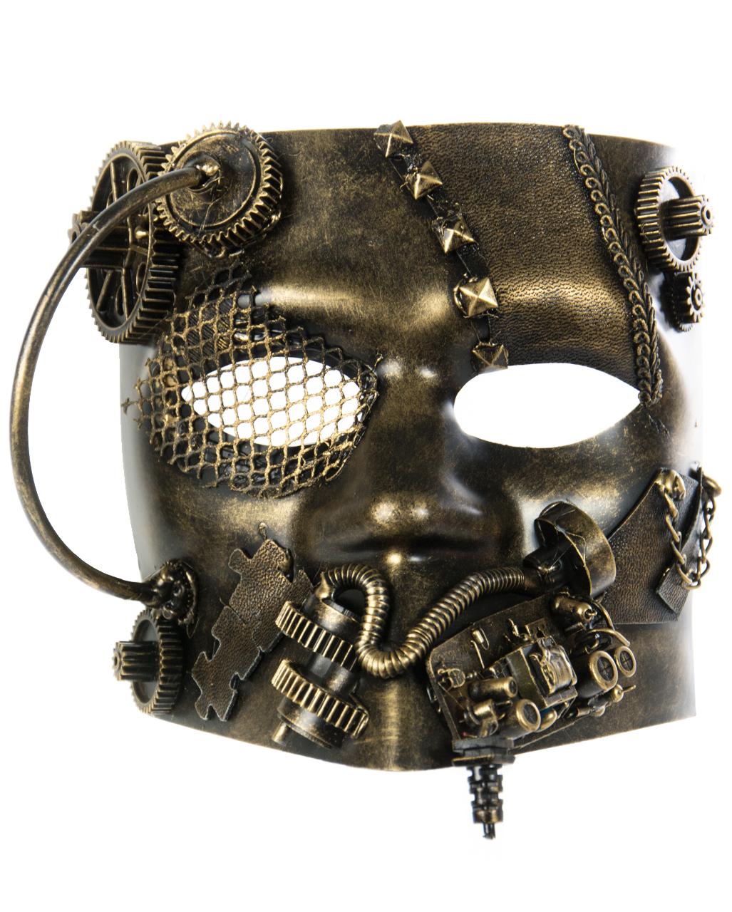 Goldene Steampunk Bauta Maske für Fasching | Karneval Universe
