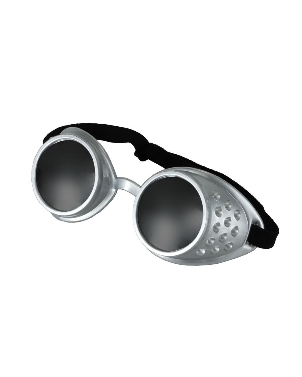 Silber-grüne Steampunk Brille Aviator als Kostümzubehör 6vcb66ayBu