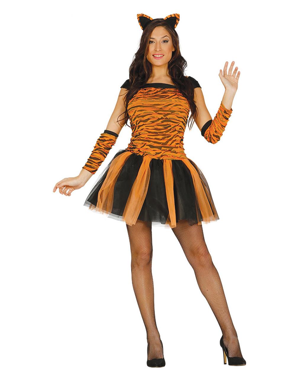 Tiger Lady Kostum Mit Zubehor Fur Fasching Kaufen Karneval Universe