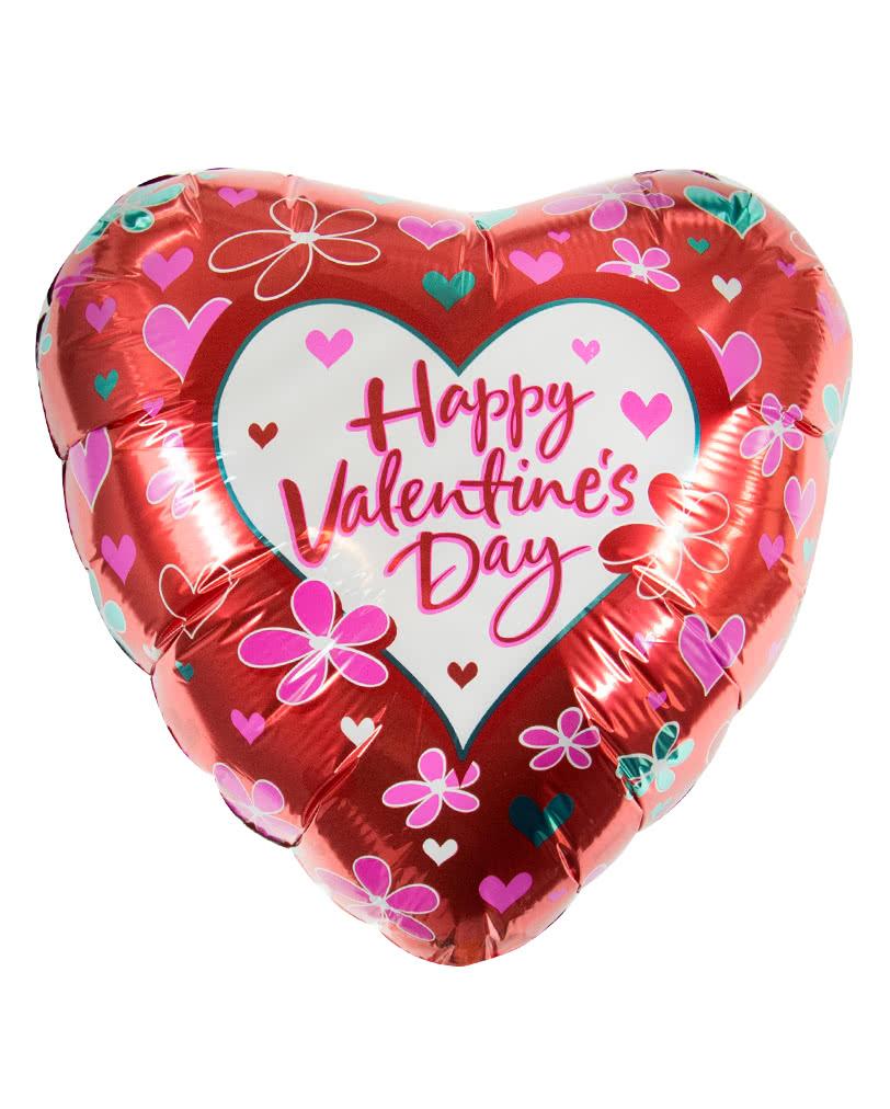 Valentinstag Herz Folienballon Mit Blumen Herzballon Fur Den