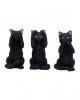 Drei weise schwarze Katzen