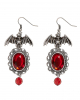 Bat Costume Earrings With Red Gemstone