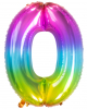 Foil Balloon Number 0 Rainbow