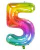 Regenbogen Folienballon Zahl 5