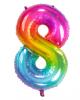 Regenbogen Folienballon Zahl 8
