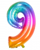 Regenbogen Folienballon Zahl 9