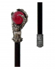 Walking Stick With Skeleton Hand & Red Glass Ball