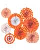 Deko Fächer Papierrosette Hängedeko Set 8 St. Orange Weiß