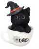 Halloween Katze in Teetasse 16cm
