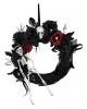 Halloween Door Wreath With Skeleton & Flowers
