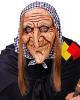 Hexen Maske mit Haaren & Kopftuch
