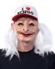 I love Bingo Oma Maske mit Haaren und Mütze