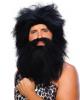 Neandertaler Perücke mit Bart schwarz