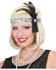 Flapper Stirnband Silber mit schwarzer Feder