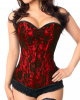 Heart Cutout Corset With Lace Red-black