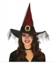 Wine Red Witch Hat With Tulle & Big Buckle
