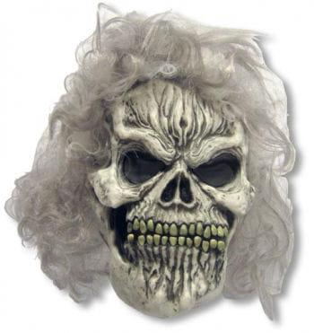 Totenschädel Halloween Maske mit Perücke