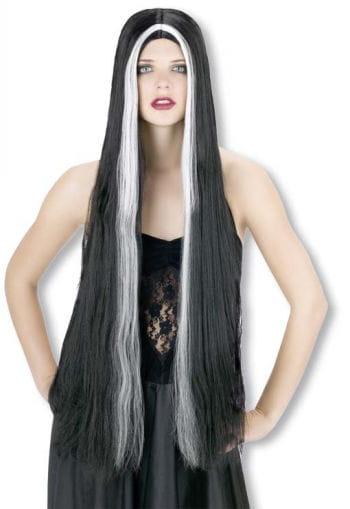 Superlong Black Wig White Streaks