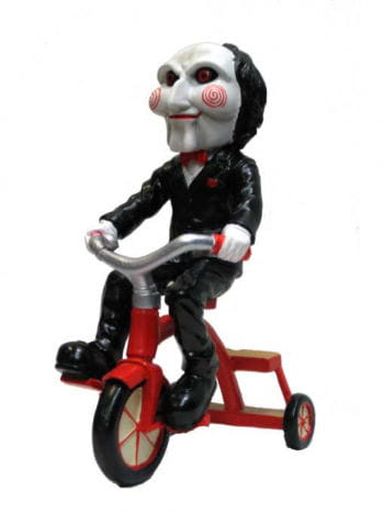 Saw Jigsaw doll on tricycle