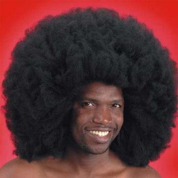 Crazy Disco Afro Perücke Schwarz 50cm