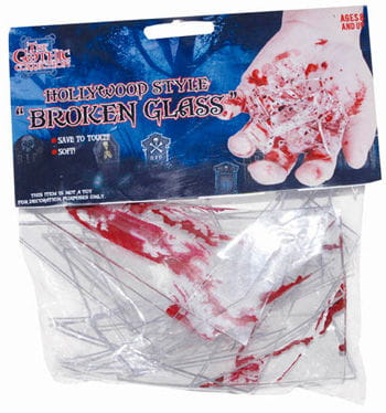 Bloody Pieces of Broken Window Glass