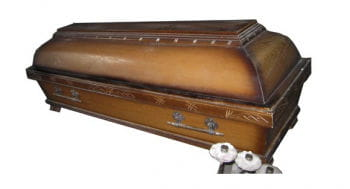 Heavy Oak Coffin with Interior and Pillow