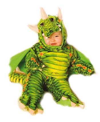 Fire Dragon Child Costume Green Gr. M