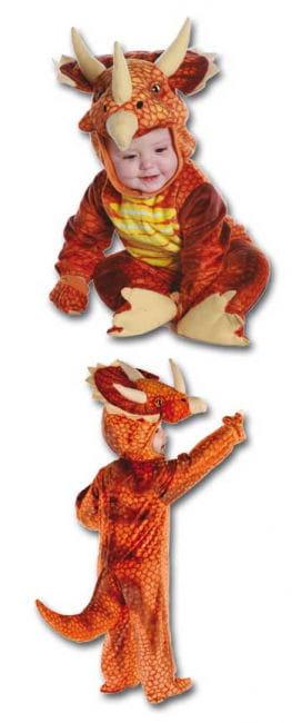 Dreihorn Dino Kinderkostüm Rot M