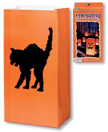 Schwarze Katze Tischlaternen 6 St.