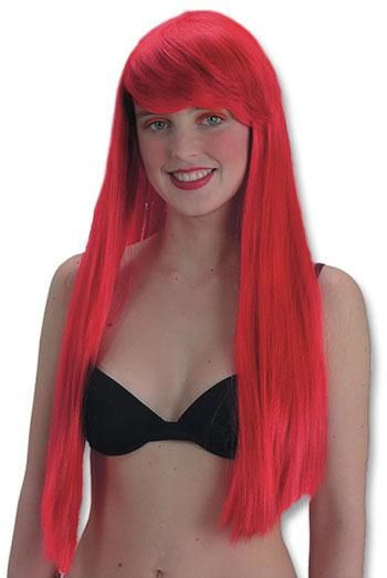 neon red longhair wig with bangs