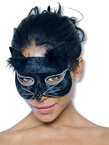 Glamour Katzenmaske samt schwarz