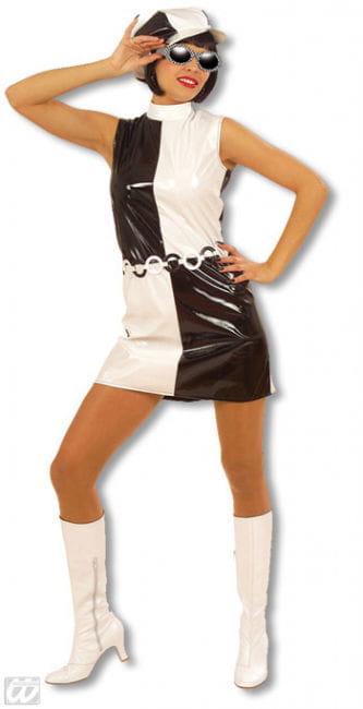 Sixties Lack Kleid schwarz und weiß L