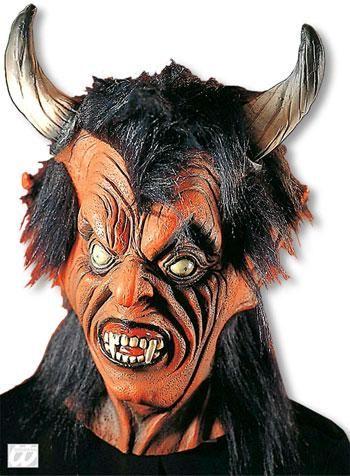 Teufelsmaske mit schwarzem Haar