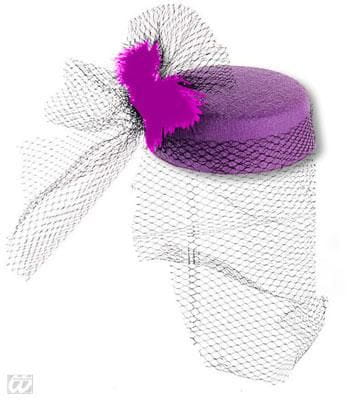 Pillbox Hat Jackie Purple with Feathers
